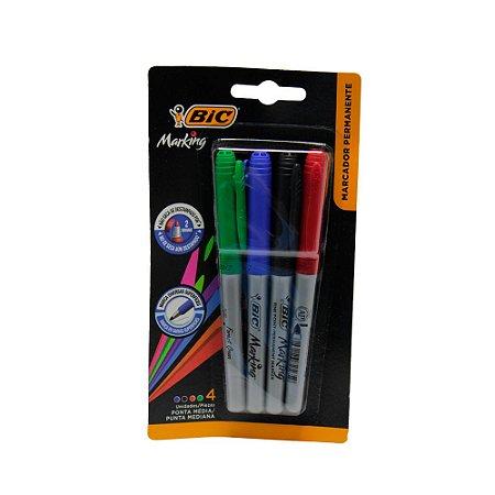 Pincel marcador permanente com 4 cores