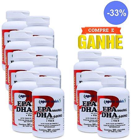 Ômega 3 1000mg (EPA 660mg DHA 440mg com Vitamina E) - 90 cápsulas - Combo: Compre 8 Frascos e Leve + 4 Frascos (Presente)
