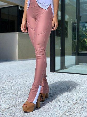 Calça Skinny Ane - Pesponto Grosso - Malha Importada Autêntica - Sculp a Modelo - Zíper na Barra com Cobertura - Pink