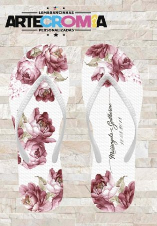 Chinelo Personalizado para Casamento Floral - MDL037
