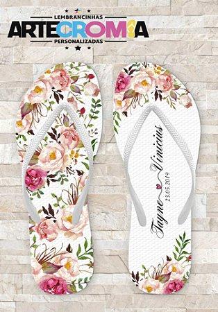 Chinelo Personalizado para Casamento Floral - MDL0116