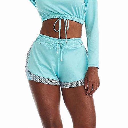 Shorts Feminino Fitness Outdoor Azul CAJUBRASIL