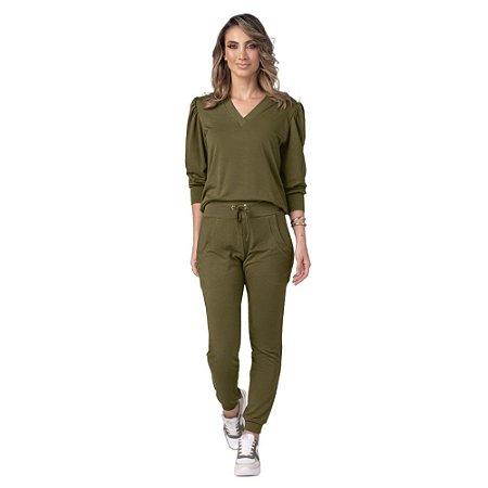 Conjunto Feminino Blusão e Calça Softness Verde ZERO AÇUCAR
