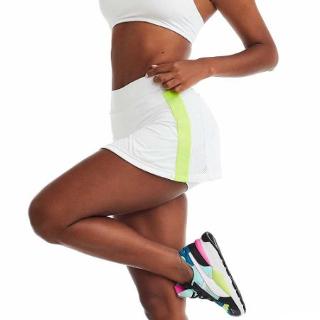Shorts Saia Fitness Elastic Branco CAJUBRASIL