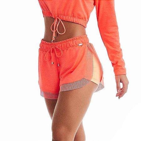 Shorts Feminino Fitness Outdoor Laranja CAJUBRASIL