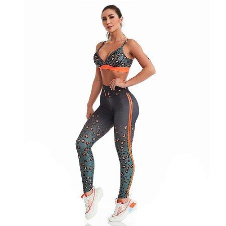 Conjunto Fitness Top e Legging Animal Print Neon CAJUBRASIL