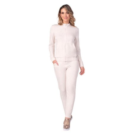 Conjunto Feminino Jaqueta e Calça Viscolinho Off-White ZERO AÇUCAR