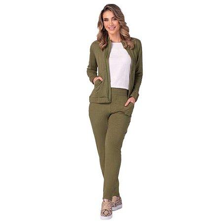 Conjunto Feminino Jaqueta e Calça Viscolinho Verde ZERO AÇUCAR