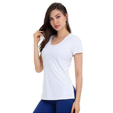 Blusa Feminina T-Shirt Slit Básica Branca CAJUBRASIL