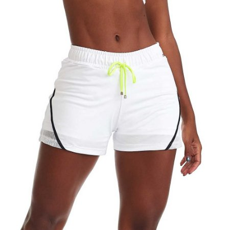 Shorts Fitness Feminino Neon Branco CAJUBRASIL