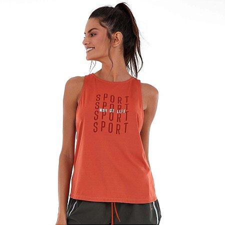 Regata Feminina Skin Fit Sport Way Degradê Laranja ALTO GIRO