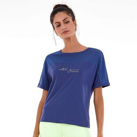 Blusa T-shirt Feminina Skin Fit Com Tule e Silk Azul ALTO GIRO