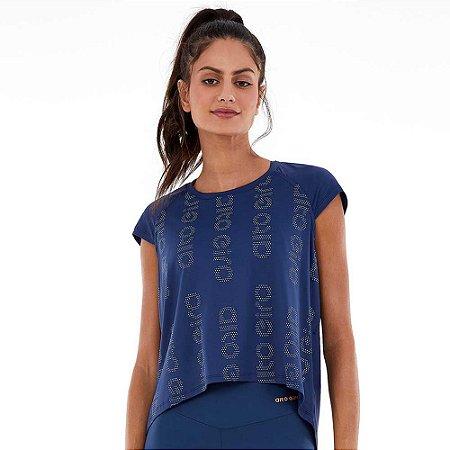 Blusa T-shirt Feminina Walk Stretch Silk Azul ALTO GIRO