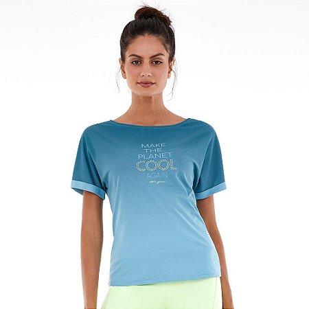 Blusa T-shirt Feminina Skin Decote Canoa Silk Azul ALTO GIRO