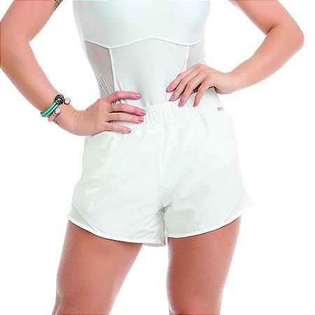 Shorts Feminino Fitness Running Branco CAJUBRASIL