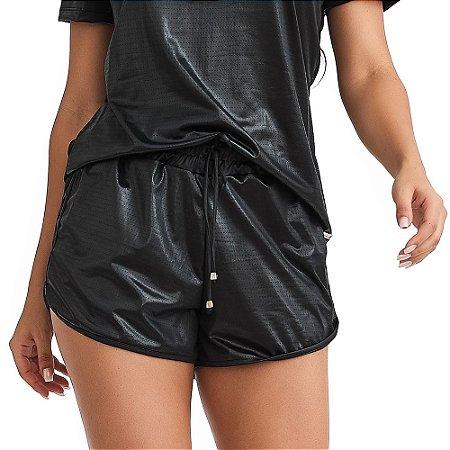 Shorts Feminino Fitness Mesh Preto CAJUBRASIL