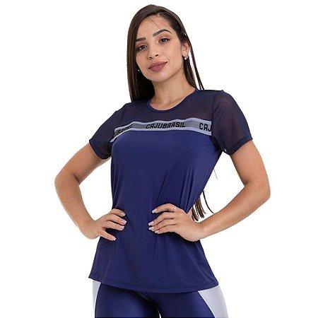 Blusa T-Shirt Feminina Mind Azul CAJUBRASIL