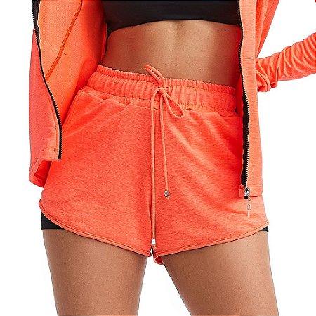 Shorts Fitness Feminino Active Laranja CAJUBRASIL