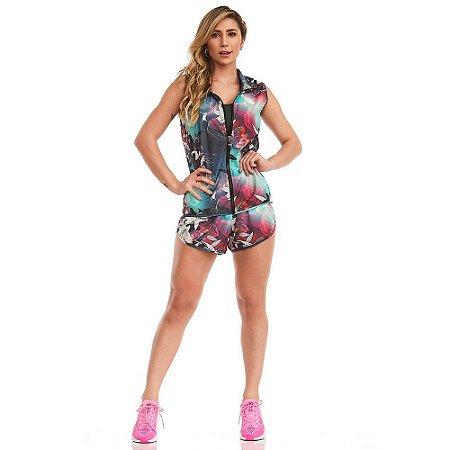 Conjunto Fitness Colete e Shorts Running Hibiscus Estampado CAJUBRASIL