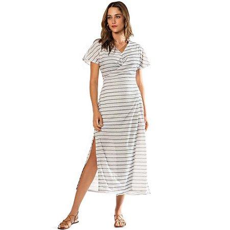 Vestido Morena Rosa Midi Decote V Transpasse Frente Preto e Off White