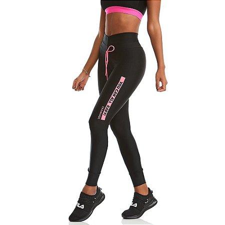 Calça Legging You Can Preta com Rosa Neon CAJUBRASIL