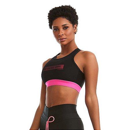 Top Fitness You Can Preto com Rosa Neon CAJUBRASIL