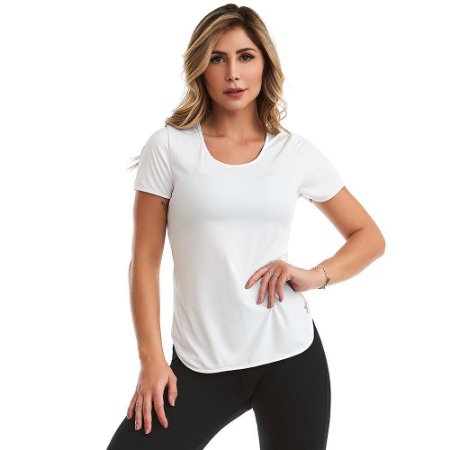 Blusa Feminina T-Shirt Lite Básica Branca CAJUBRASIL