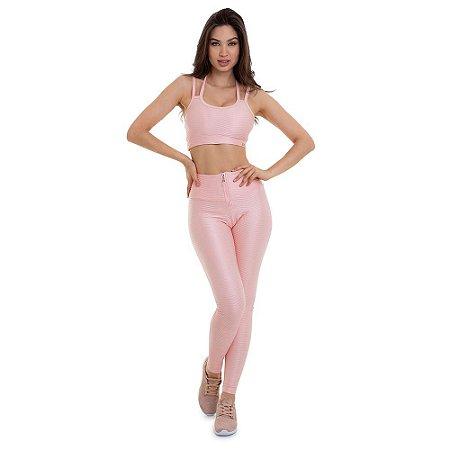 Conjunto Top e Legging Action Rosa CAJUBRASIL
