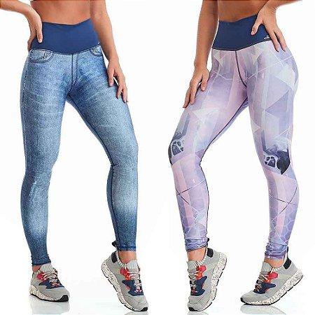 Calça Legging Double Face Jeans Geometric Azul CAJUBRASIL