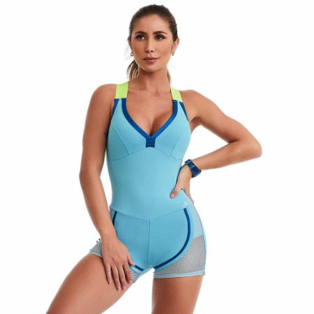 Macaquinho Fitness NZ Vibrance Azul  CAJUBRASIL