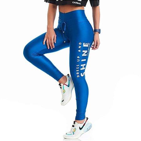 Calça Legging Atletika Shine Azul CAJUBRASIL