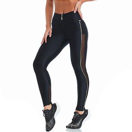 Calça Legging Atletika Silver Preta CAJUBRASIL