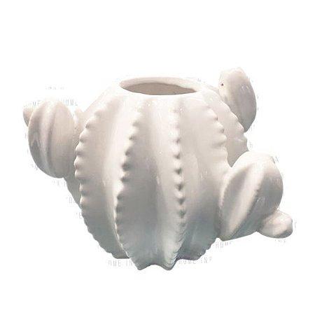 Vaso Cactus Branco em Cerâmica