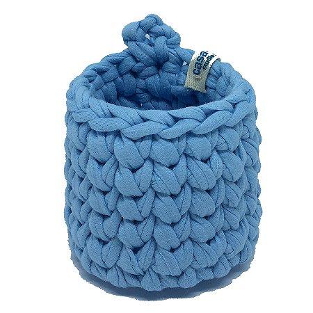 Mini Cachepô de Crochê p/ Pendurar - Azul Claro