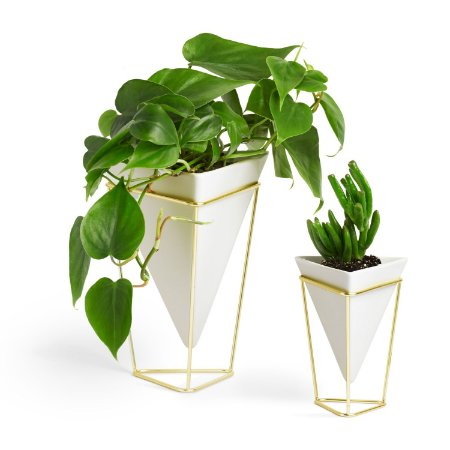 Conjunto de Vaso de Mesa em cerâmica Branco/Dourado