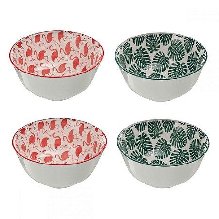 Conjunto de Bowls Flamingo e folhagem - P
