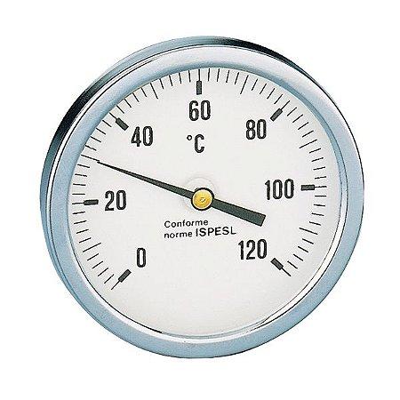 "688 Termômetro analógico horizontal D80 0-120°C, haste 45mm, c poço 1/2"" BSP"