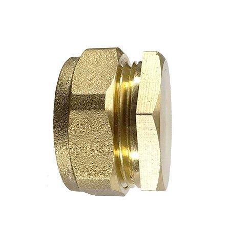 Conecta Fácil Cobre - Tampão latão 22 tubo ou coletor solar, sem solda (rosca sobre anilha)