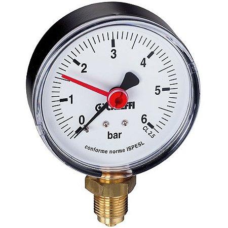 """5573 Manômetro Seco D50 Água Quente c Indicador, 1/4""""BSP Radial CALEFFI"""