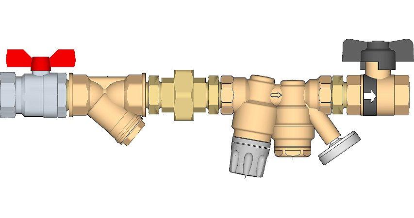 """116 Conjunto regulador de ramal de DAQ (Distribuição de Água Quente) 3/4""""FF com união, filtro Y, válvula de corte esfera na entrada e Ballstop (válvula de corte esfera com retenção) na saída."""