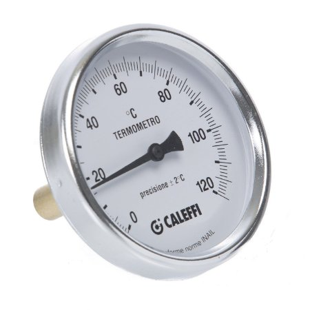 "688 Termômetro analógico horizontal D80 0-120°C, haste 100mm, c poço 1/2"" BSP"