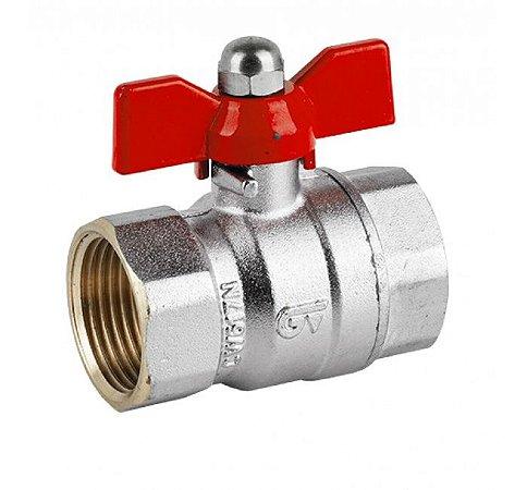 3037 Válvula Esfera FF Borboleta Vermelha GENEBRE 110°C PN25