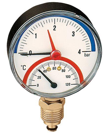 "503 Termomanômetro radial D80 120°C 1/2"" CALEFFI"