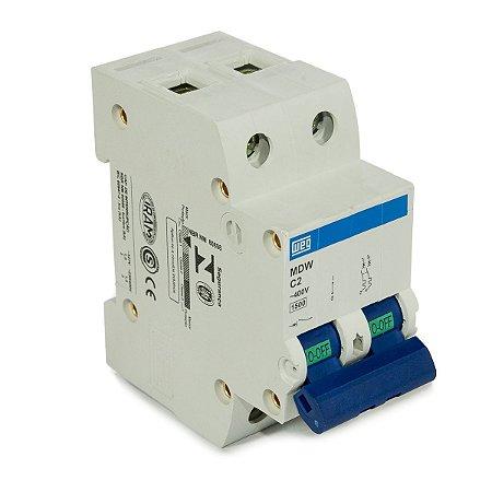 Mini Disjuntor Bipolar Weg MDW-C2-2 2A Curva C 5KA