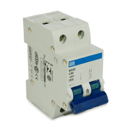 Mini Disjuntor Bipolar Weg MDW-C50-2 50A Curva C 5KA