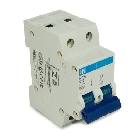 Mini Disjuntor Bipolar Weg MDW-C25-2 25A Curva C 5KA