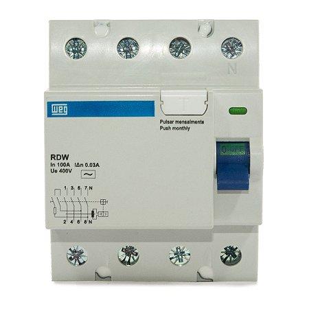 Interruptor Diferencial Residual DR 4 Polos 100A RDW30-100-4 Weg