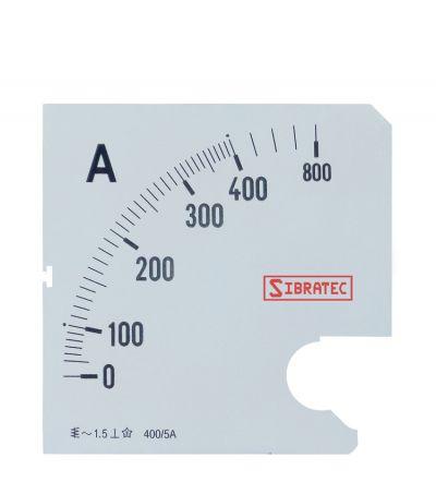 Escala para Amperímetro 72mm 0-400A
