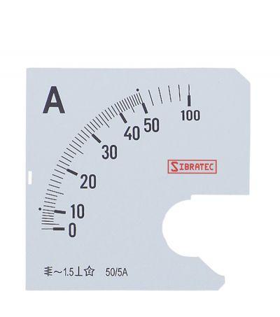 Escala para Amperímetro 72mm 0-50A