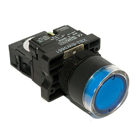 Botão Iluminado Plástico EW3661 Azul 24V 1NA